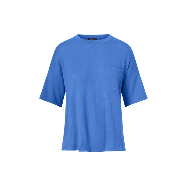 Ralph Lauren Boxy Cashmere Pocket Tee Brookfield Blue Xs