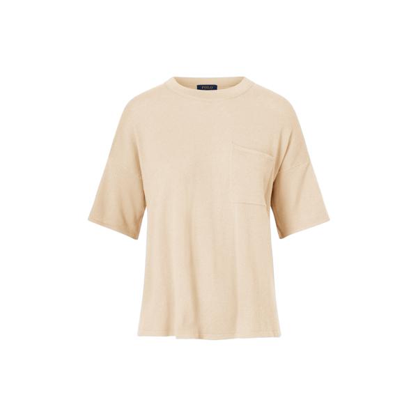 Ralph Lauren Boxy Cashmere Pocket Tee Sand Xs