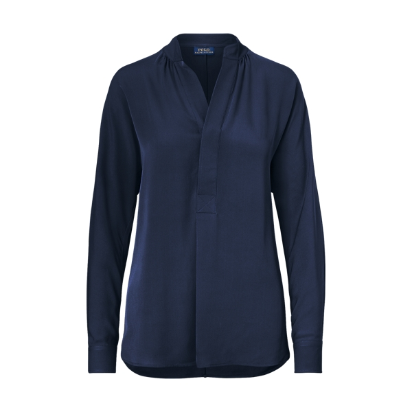 Ralph Lauren Silk Georgette Shirt Collection Navy Xs