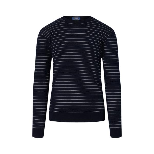 Ralph Lauren Striped Cotton-Blend Sweater Navy/Cream Xl