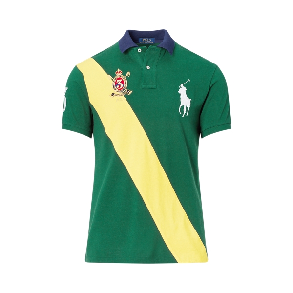 Ralph Lauren Slim Fit Mesh Polo Shirt New Forest/Athletic Gold M