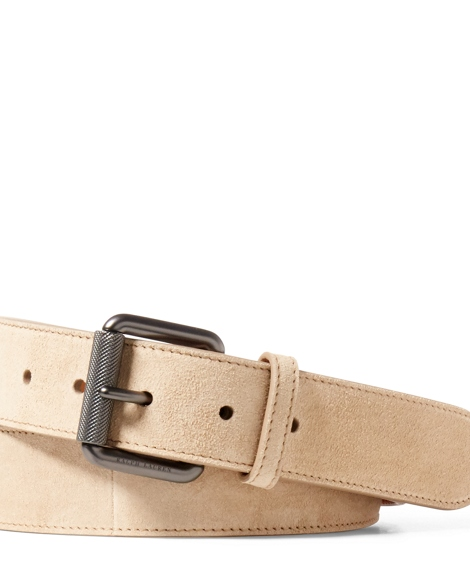 Suede Roller-Buckle Belt