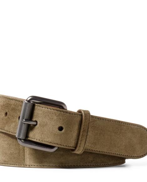 Suede Roller-Buckle Belt