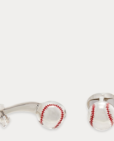 Silver Baseball Cuff Links