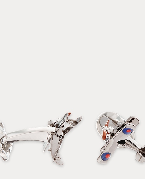 Silver Airplane Cuff Links