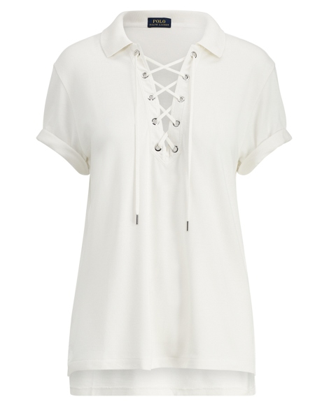 Lace-Up Mesh Boyfriend Polo