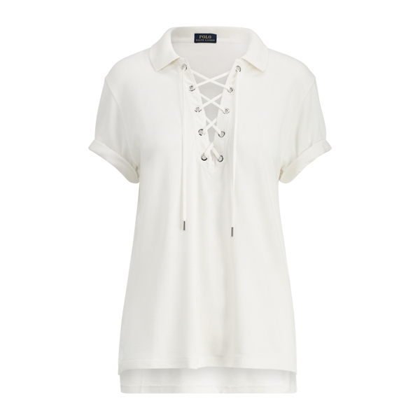 Ralph Lauren Lace-Up Mesh Boyfriend Polo Nevis M