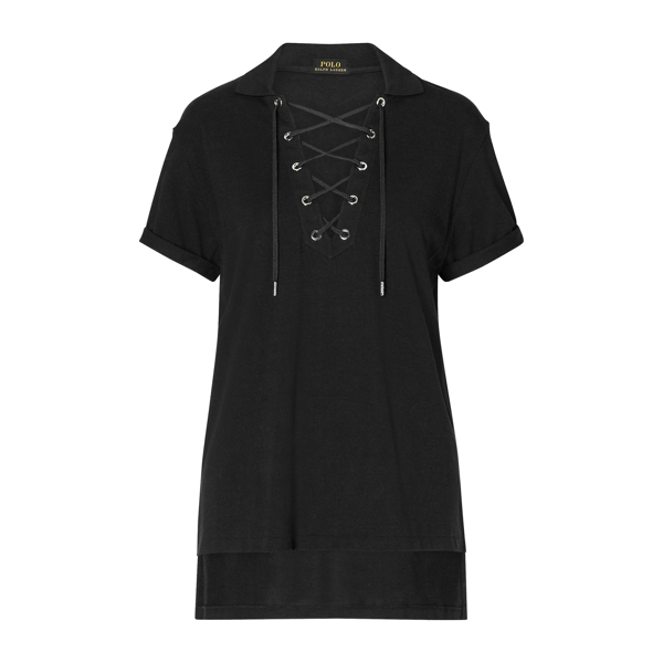 Ralph Lauren Lace-Up Mesh Boyfriend Polo Polo Black Xs