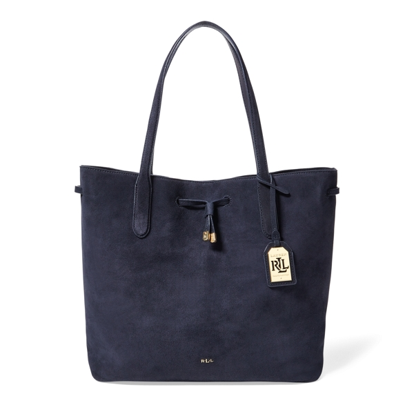 Ralph Lauren Suede Diana Drawstring Tote Navy One Size