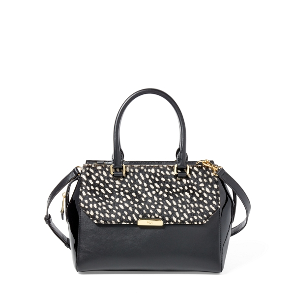 Ralph Lauren Haircalf Alice Satchel Black//Vanilla One Size