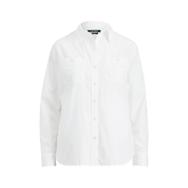Ralph Lauren Broadcloth Button-Down Shirt White Xs
