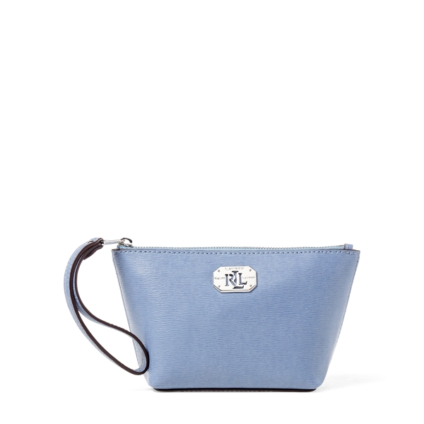 Ralph Lauren Leather Cosmetic Wristlet Blue Mist One Size