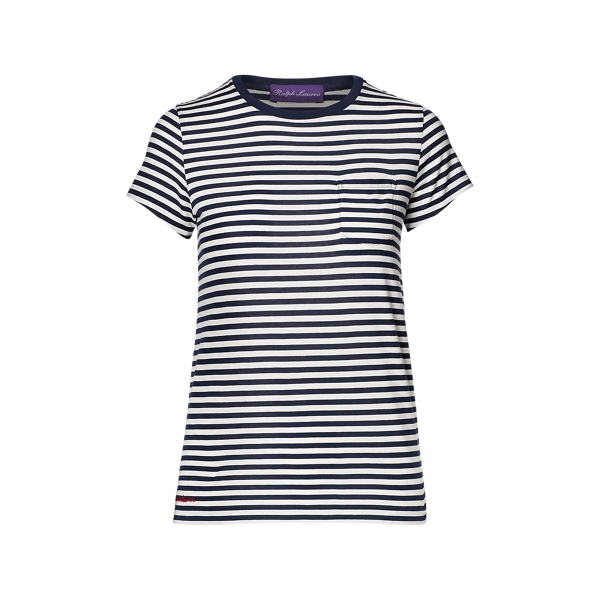 Ralph Lauren Striped Cotton Tee Dark Navy & Off White M