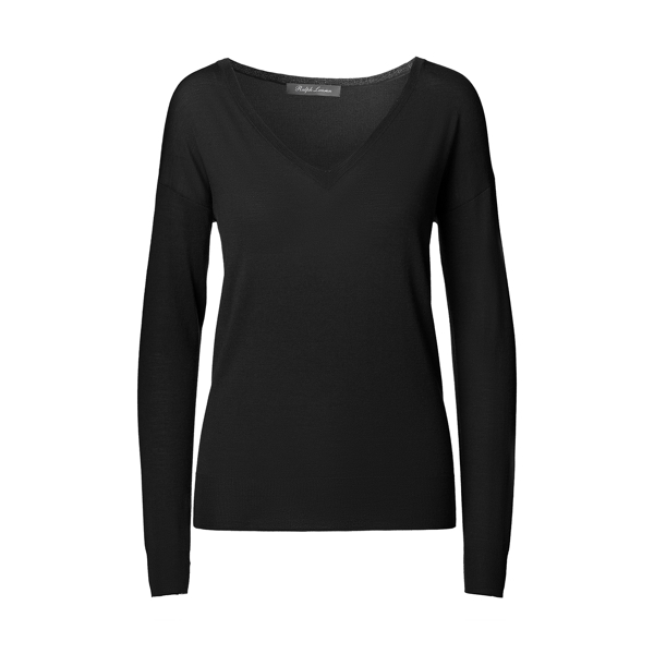 Ralph Lauren Merino Wool V-Neck Sweater Black M