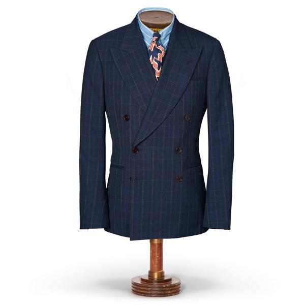 Ralph Lauren Windowpane Merino Suit Jacket Hunter Navy Multi 42