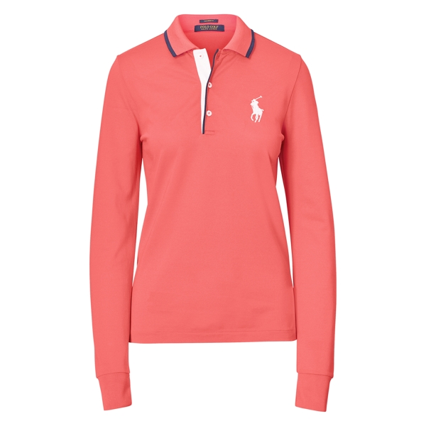 Ralph Lauren Tailored Fit Golf Polo Shirt Coral Glow S