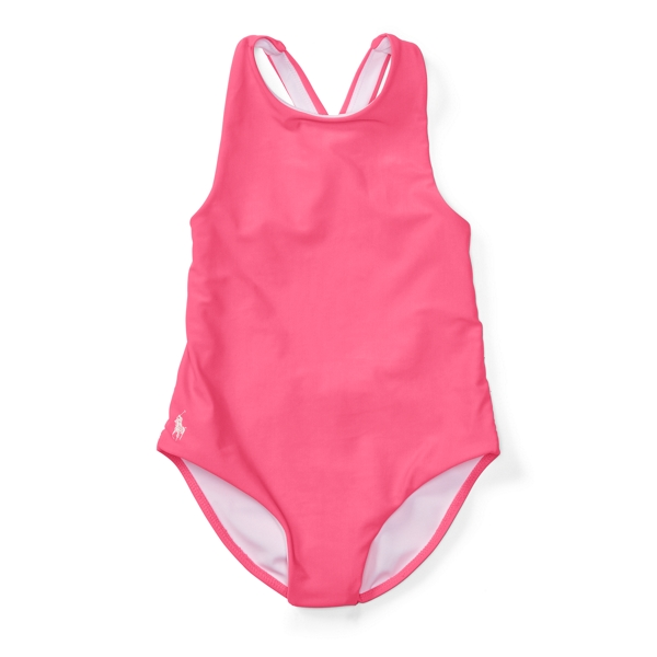 Ralph Lauren Cross-Back One-Piece Swimsuit Wild Rose 4T