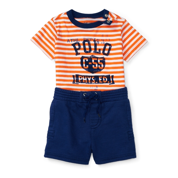 Ralph Lauren Graphic Tee & Short Set Resort Orange Multi 3M