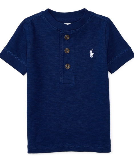 Cotton Short-Sleeve Henley