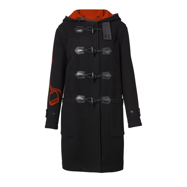 Ralph Lauren Braiden Hooded Toggle Coat Black/Red 6