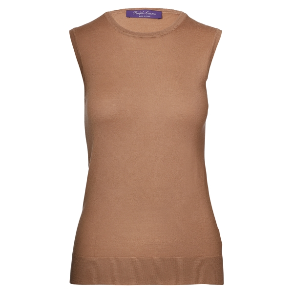 Ralph Lauren Cashmere Sleeveless Sweater Camel L