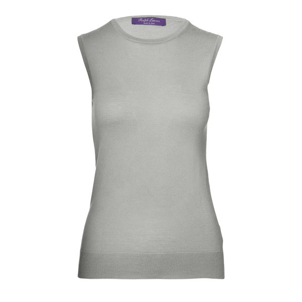 Ralph Lauren Cashmere Sleeveless Sweater Lux Light Grey Melange S