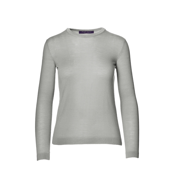 Ralph Lauren Cashmere Crewneck Sweater Lux Light Grey Melange S