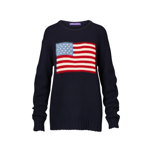Ralph Lauren Flag Cashmere Crewneck Sweater Midnight W/ Flag S