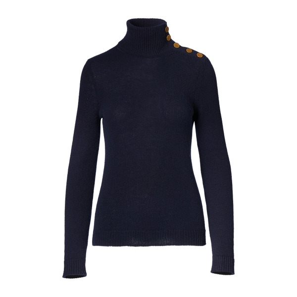 Ralph Lauren Buttoned Cashmere Turtleneck Midnight L