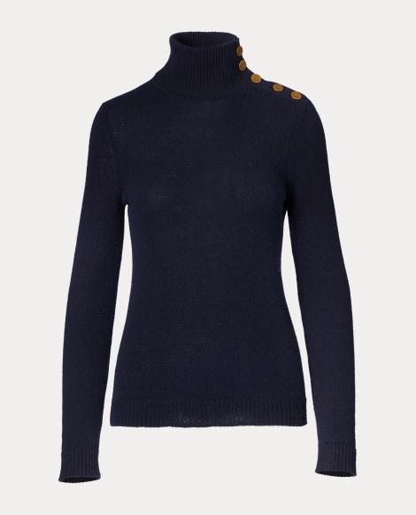 Buttoned Cashmere Turtleneck