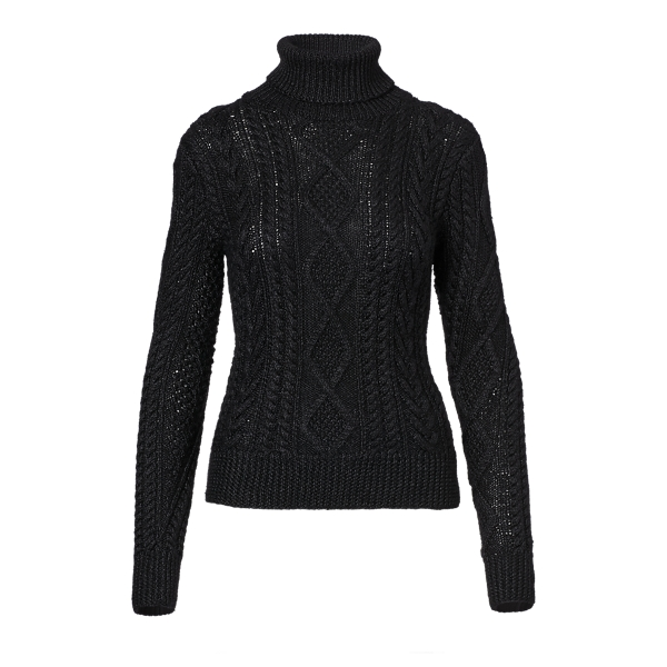 Ralph Lauren Hand-Knit Aran Turtleneck Black S