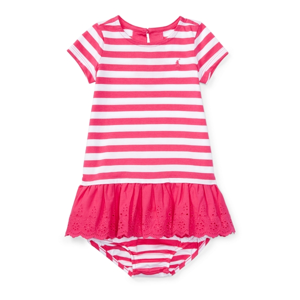 Ralph Lauren Striped Eyelet Dress & Bloomer Ultra Pink/White 3M