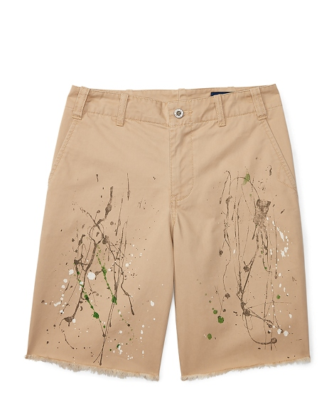 Distressed Cotton Twill Short