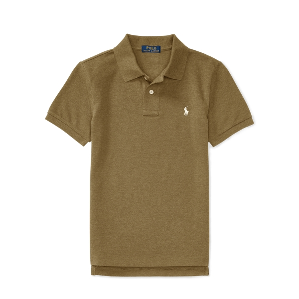 Ralph Lauren Custom-Fit Cotton Mesh Polo Light Olive Heather L