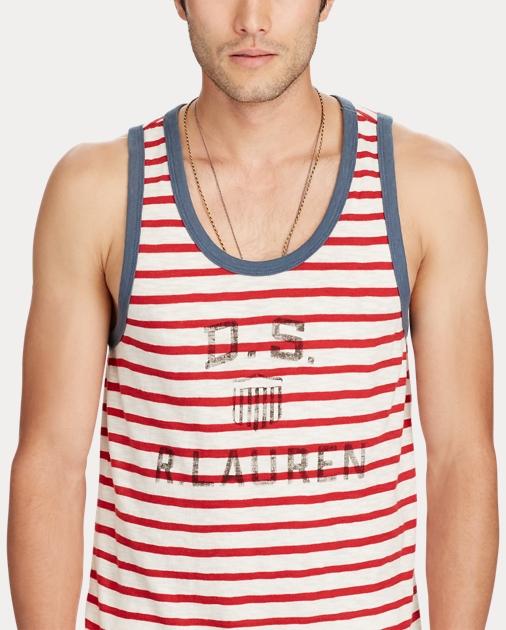 produt-image-2.0. Men Clothing T-Shirts Striped Cotton Jersey Tank