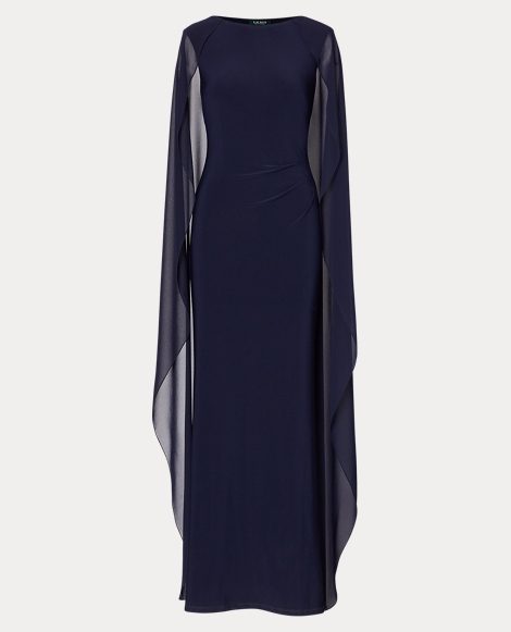 Georgette-Cape Jersey Gown