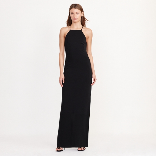 Ralph Lauren Cutout-Back Sleeveless Gown Black 10