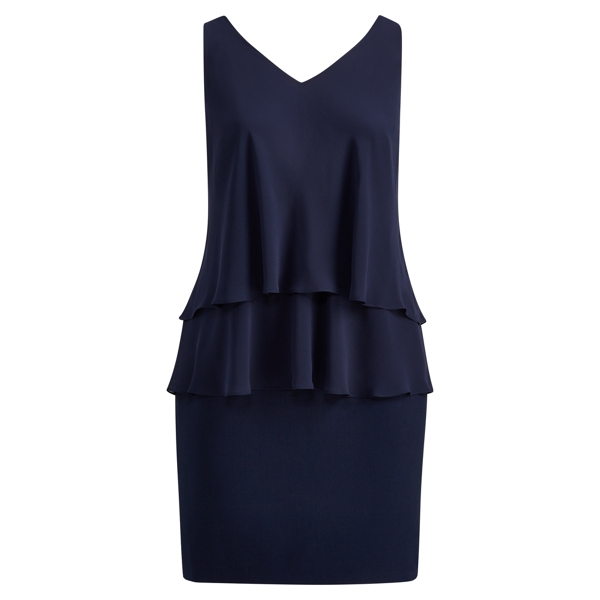 Ralph Lauren Georgette Tier Dress Lighthouse Navy 14