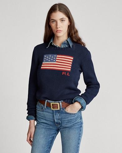 Flag Cotton Crewneck Sweater