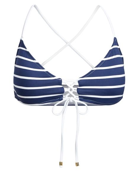 Striped Lace-Up Bikini Top