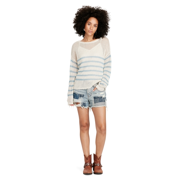 Ralph Lauren Striped Linen Crewneck Sweater Cream L