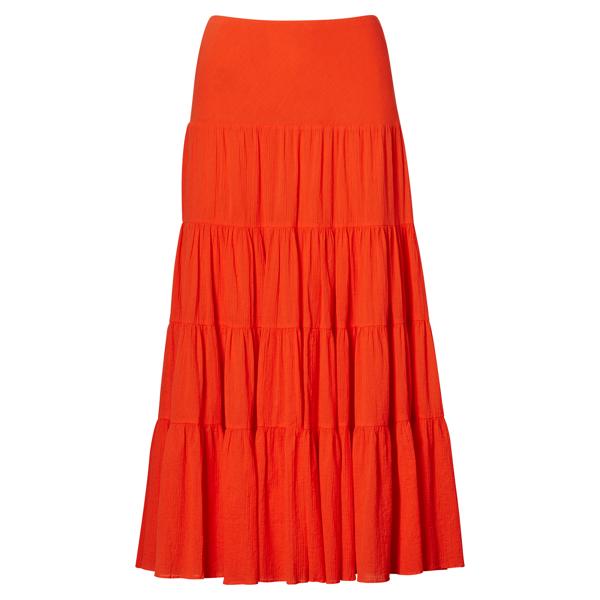 Ralph Lauren Cotton Gauze Maxiskirt Sunset Orange Xs
