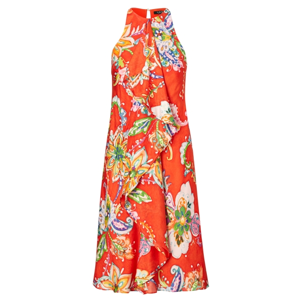 Ralph Lauren Ruffled Paisley-Print Dress Orange Multi 8