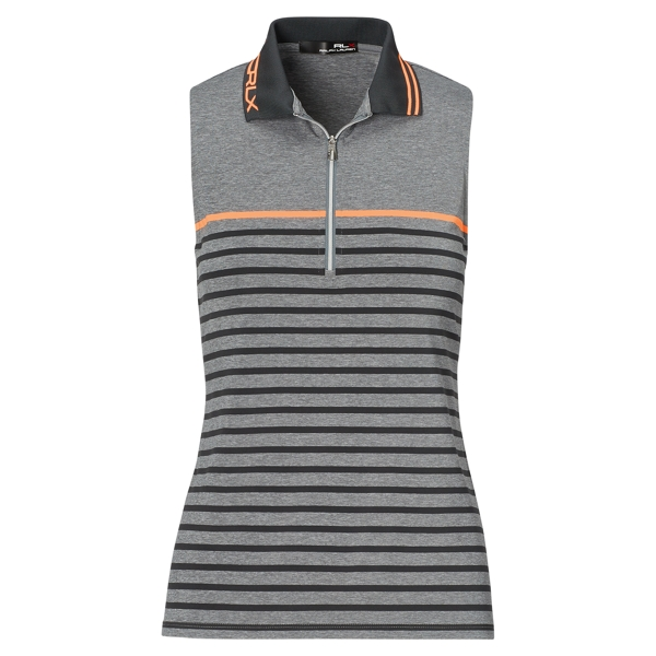 Ralph Lauren Striped Jersey Sleeveless Polo Grey S