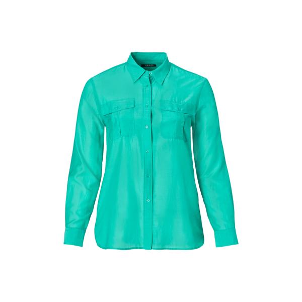 Ralph Lauren Cotton-Silk-Voile Shirt Tropic Turquoise 1X