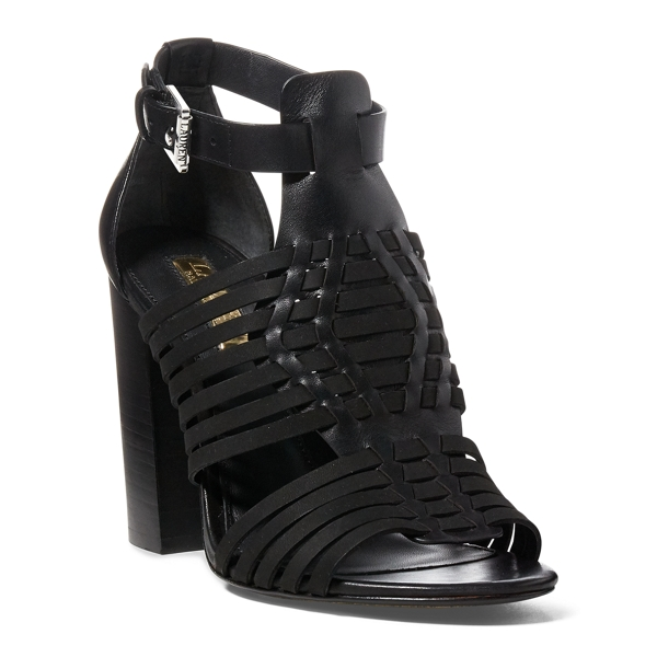 Ralph Lauren Harietta Leather Sandal Black 10