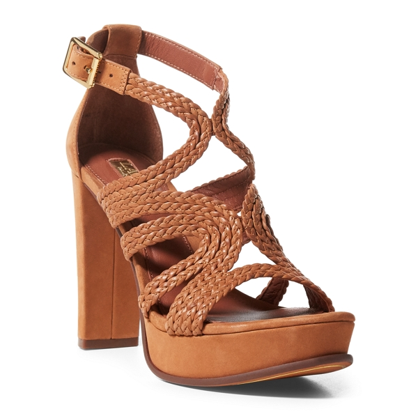 Ralph Lauren Aleena Braided Nubuck Sandal Polo Tan 10