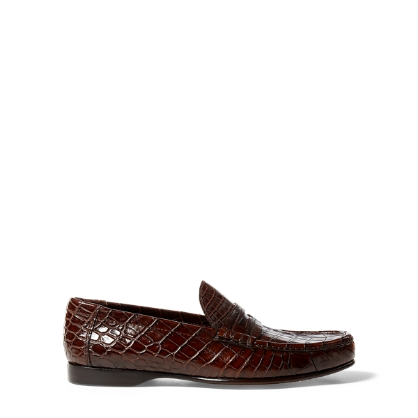 Ralph Lauren Iliana Crocodile Penny Loafer Dark Brown 37.5
