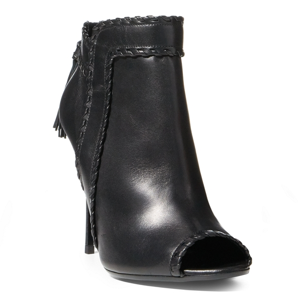 Ralph Lauren Nappa Leather Peep-Toe Boot Black 7.5