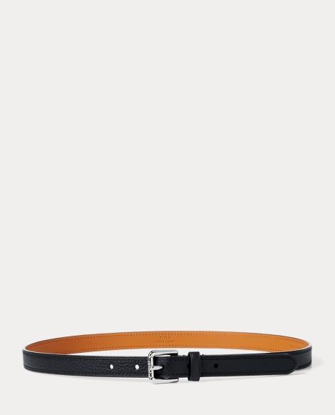Skinny Pebbled Leather Belt